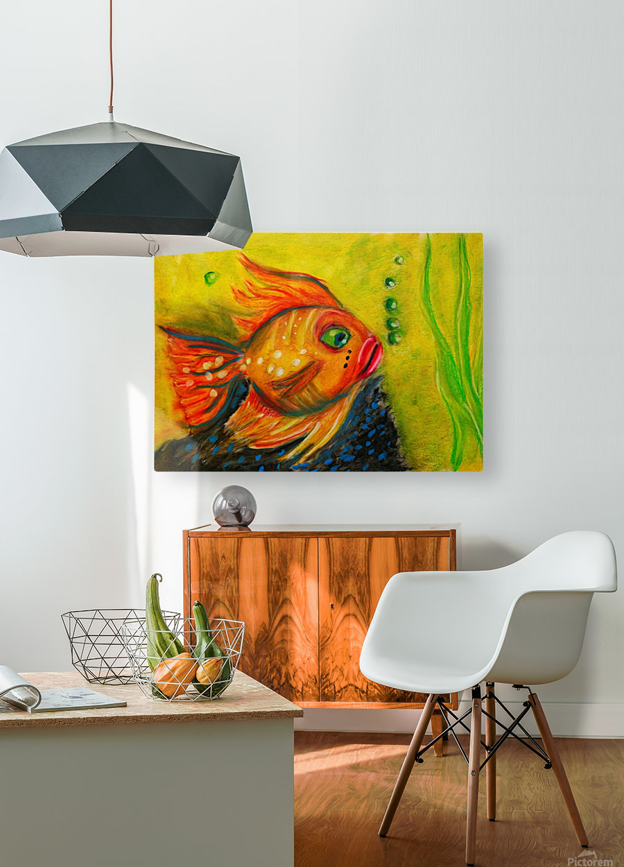 Gold Fish  HD Metal print with Floating Frame on Back
