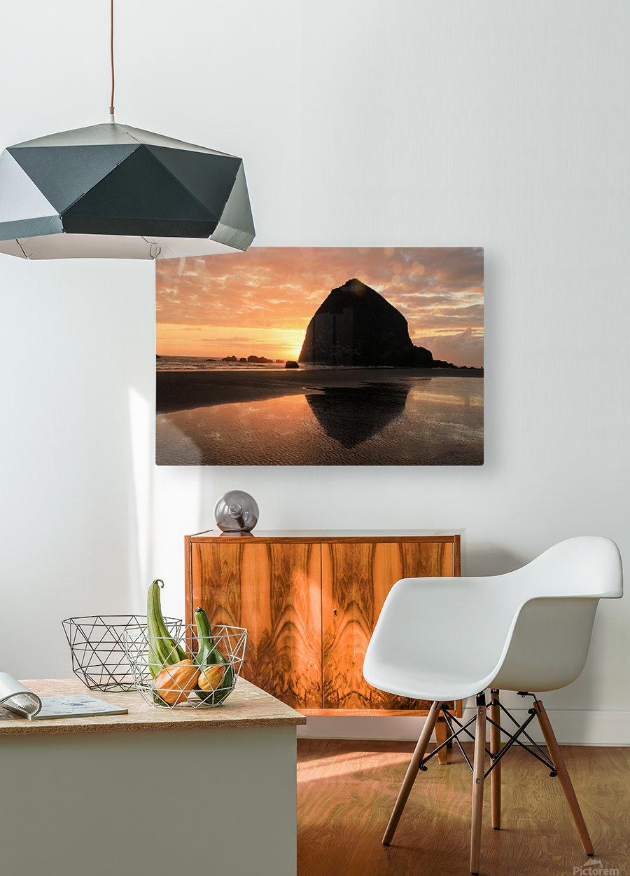 Haystack Rock at Sunset  HD Metal print with Floating Frame on Back