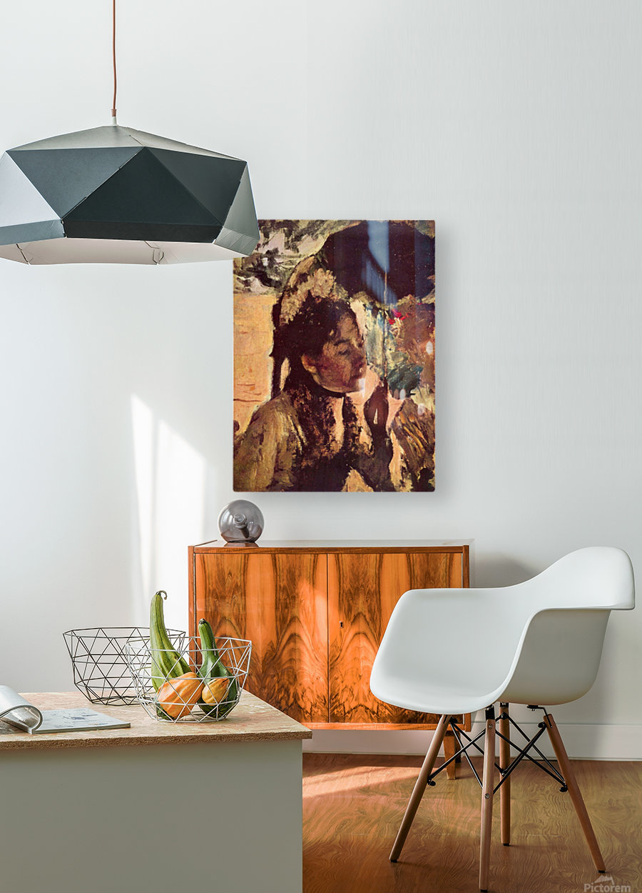 In the Tuileries - Woman with Parasol by Degas  HD Metal print with Floating Frame on Back