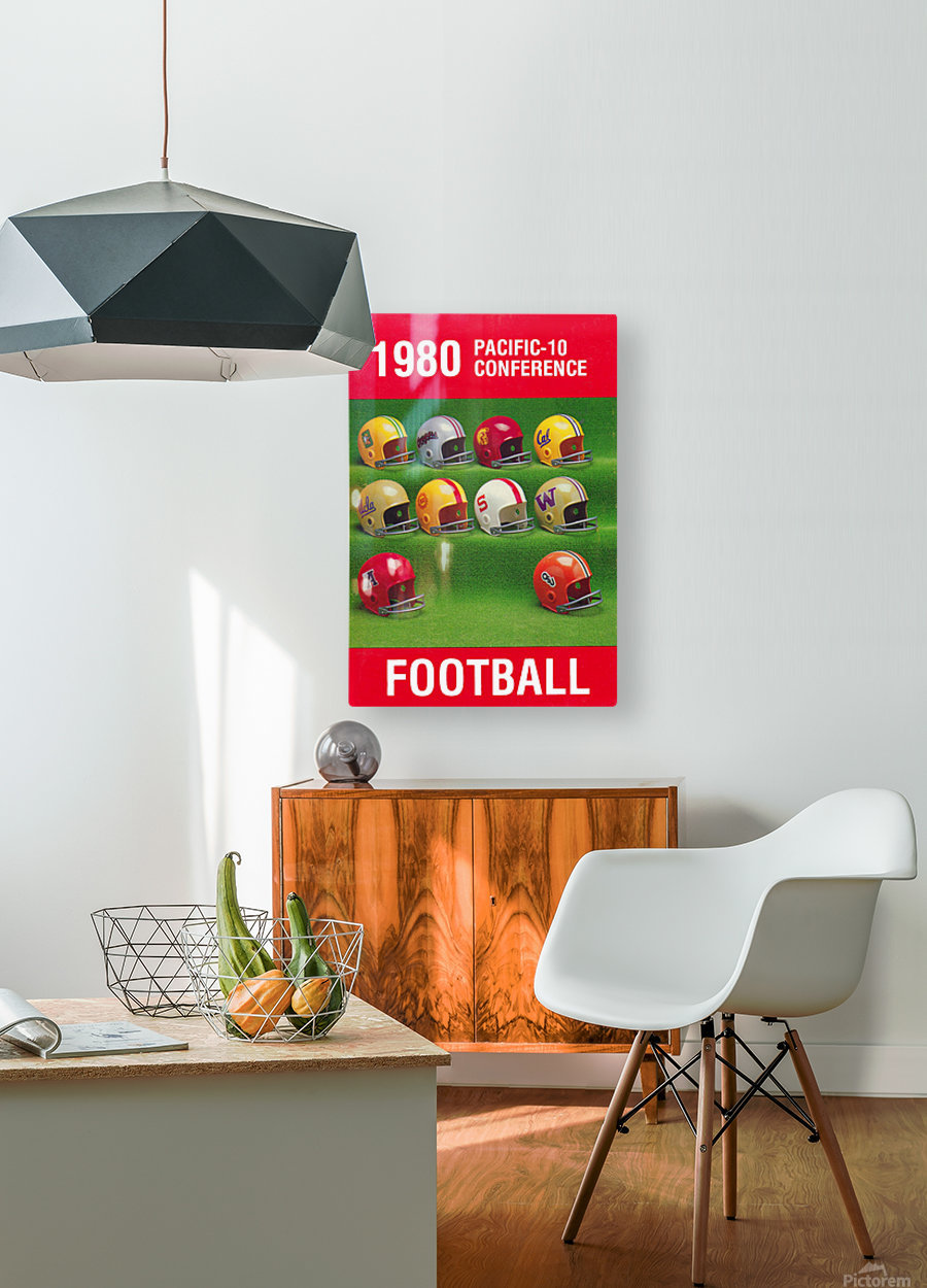 1980 Pac 10 Football Poster  HD Metal print with Floating Frame on Back