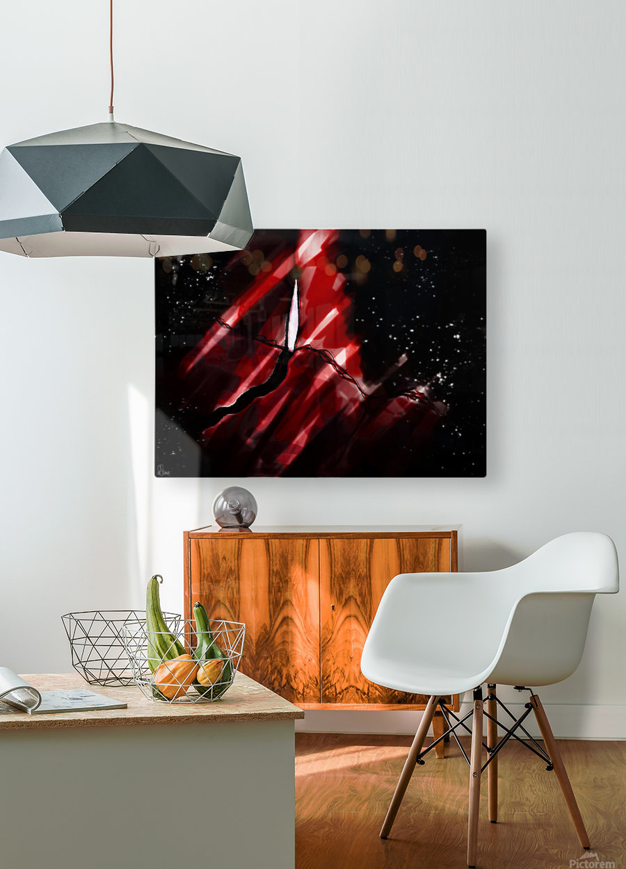 Discovering in Crimson  HD Metal print with Floating Frame on Back
