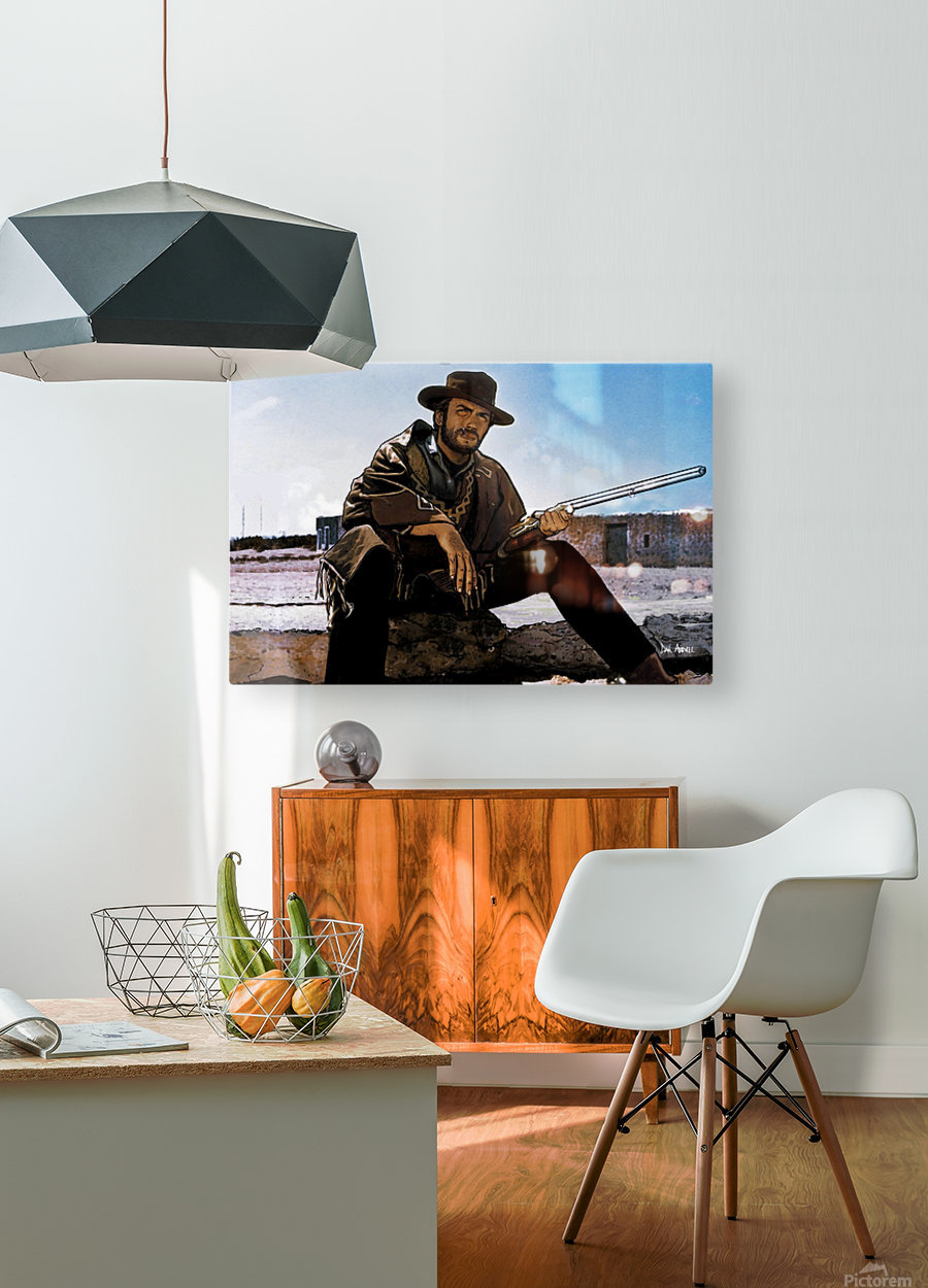 Clint Eastwood as The Man With No Name  HD Metal print with Floating Frame on Back