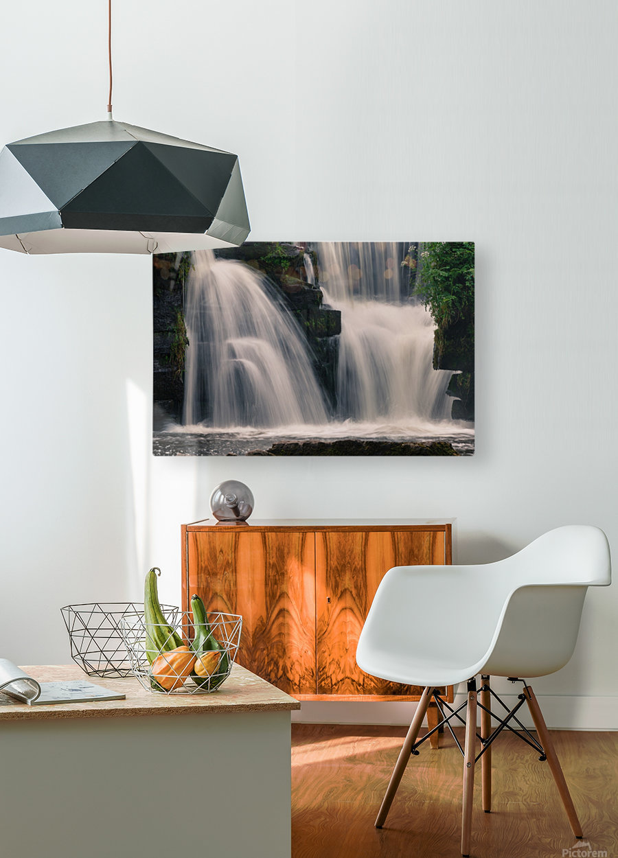 Waterfalls in Penllergare woods  HD Metal print with Floating Frame on Back
