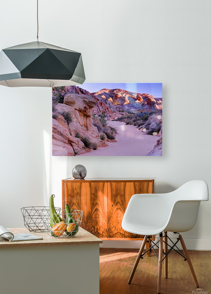 Sunrise over Valley of Fire Wash - Nevada  HD Metal print with Floating Frame on Back
