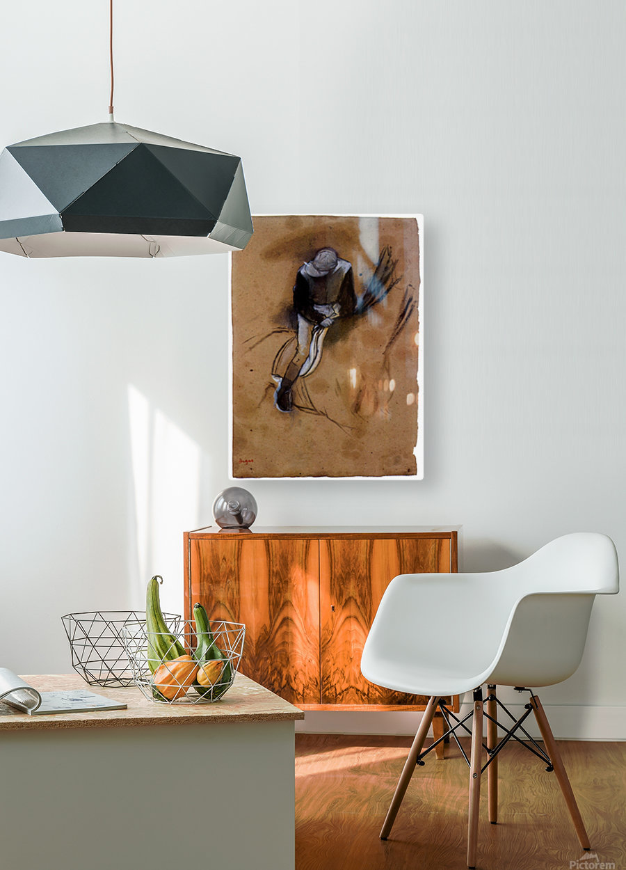 Jockey forward flexed standing in the saddle by Degas  HD Metal print with Floating Frame on Back