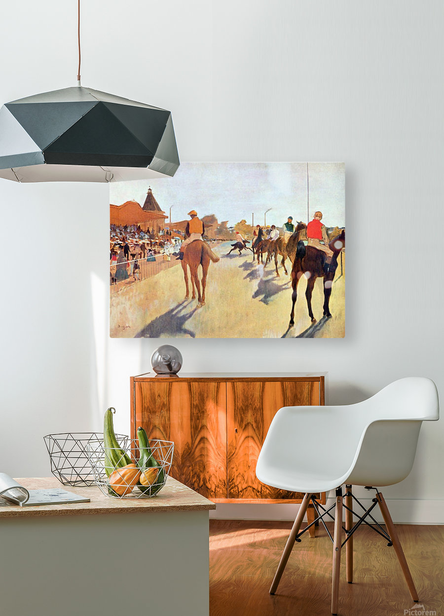 Jockeys in front of the grandstand by Degas  HD Metal print with Floating Frame on Back