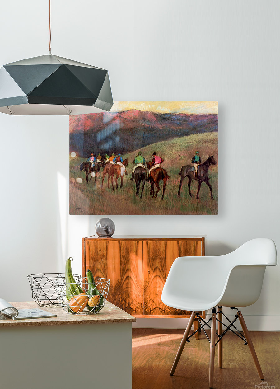 Jockeys in Training by Degas  HD Metal print with Floating Frame on Back