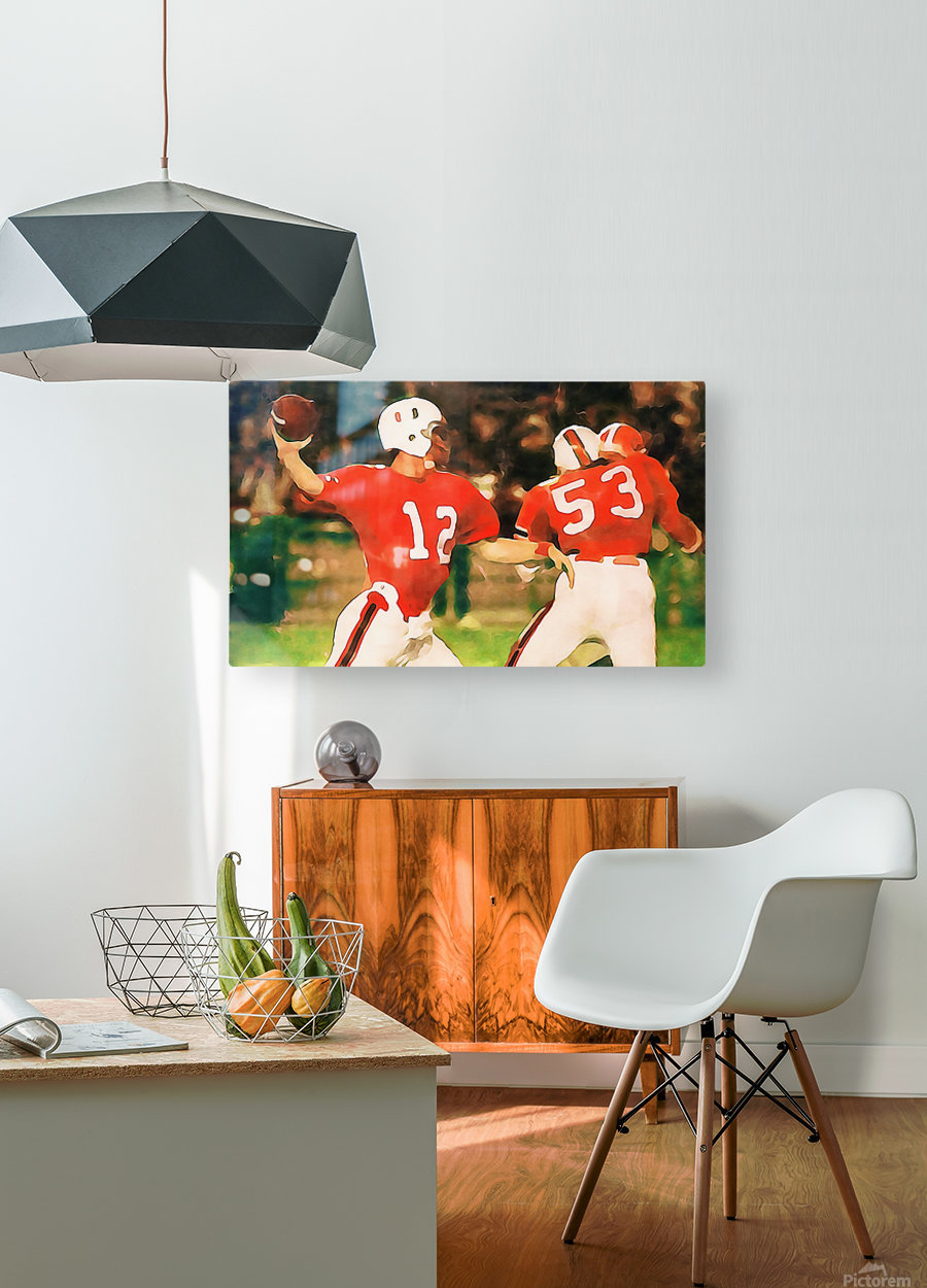 Miami Hurricanes Jim Kelly Art  HD Metal print with Floating Frame on Back