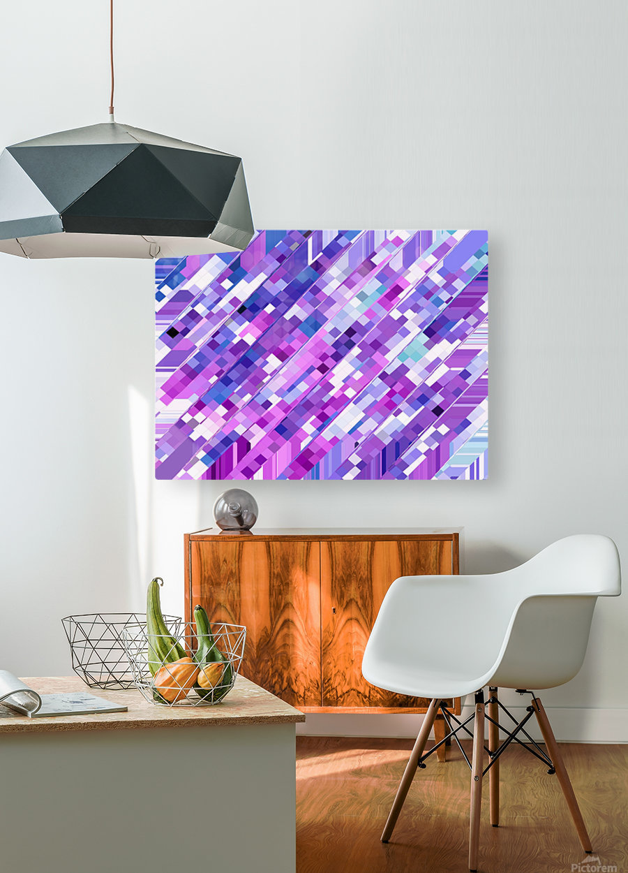geometric square pixel pattern abstract background in purple pink  HD Metal print with Floating Frame on Back