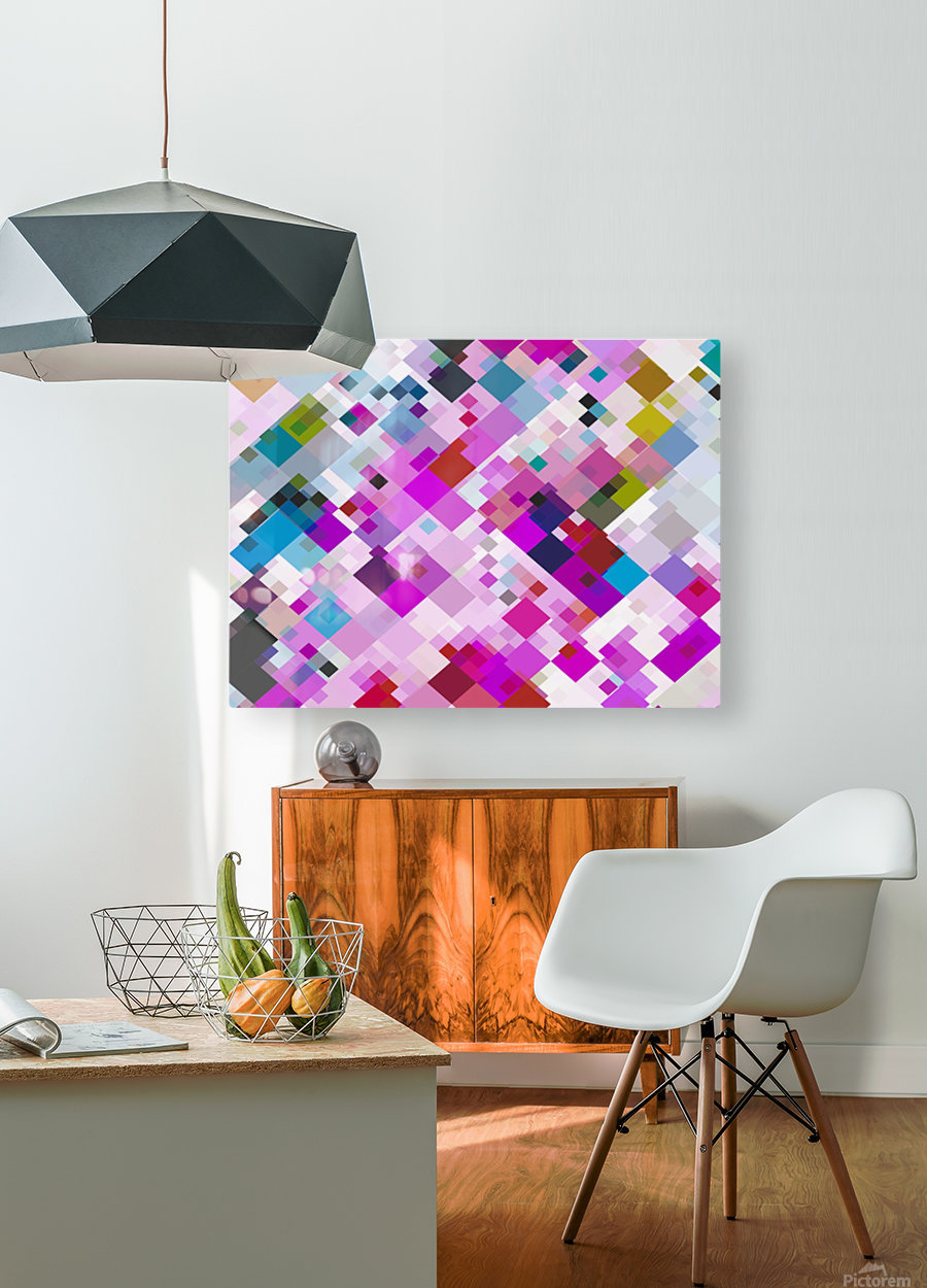 geometric square pixel pattern abstract background in pink blue yellow  HD Metal print with Floating Frame on Back