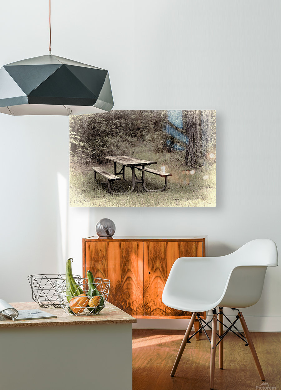 A_Lonely_Table  HD Metal print with Floating Frame on Back