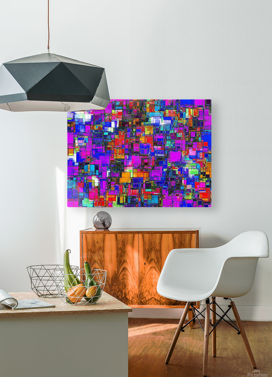 geometric square shape pattern abstract background in pink blue orange  HD Metal print with Floating Frame on Back