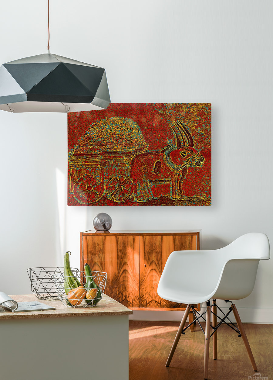 Oxen  HD Metal print with Floating Frame on Back