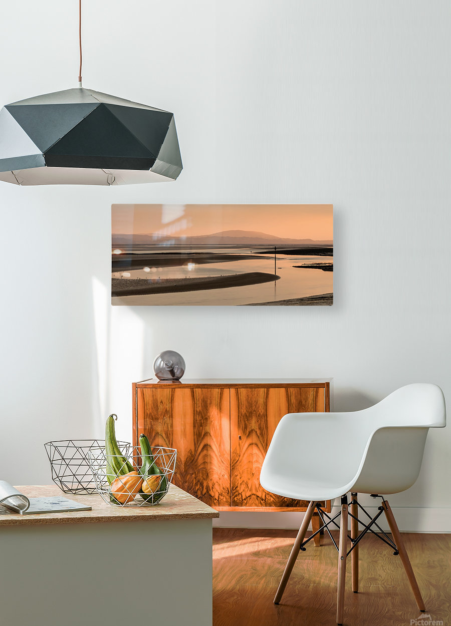 Loughor estuary at dusk  HD Metal print with Floating Frame on Back