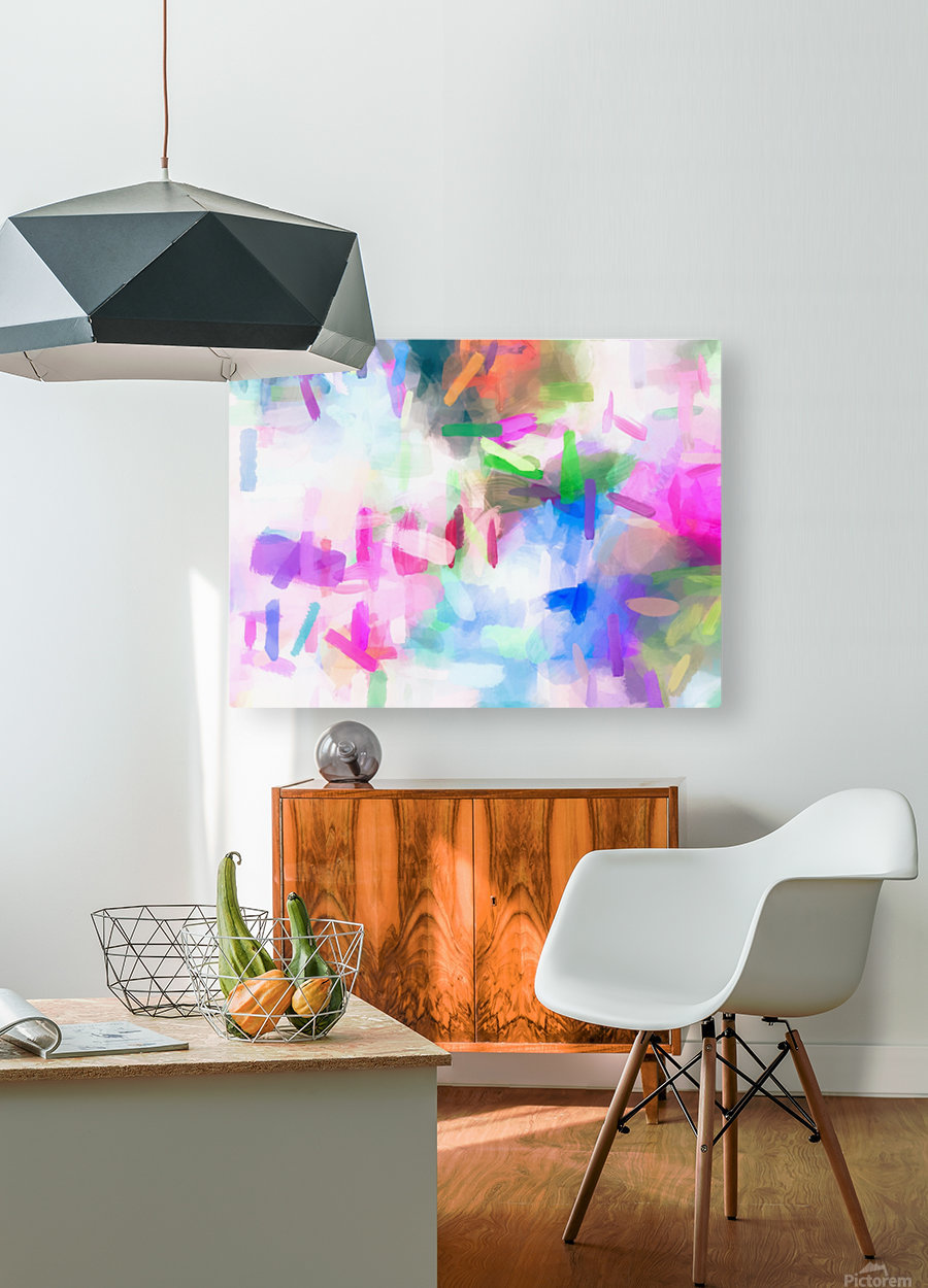 splash painting texture abstract background in pink blue green  HD Metal print with Floating Frame on Back