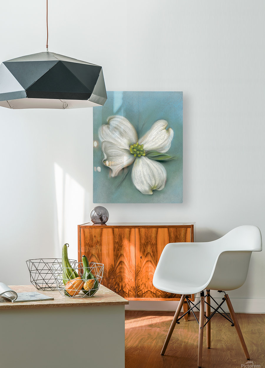 White Dogwood with Leaf  HD Metal print with Floating Frame on Back