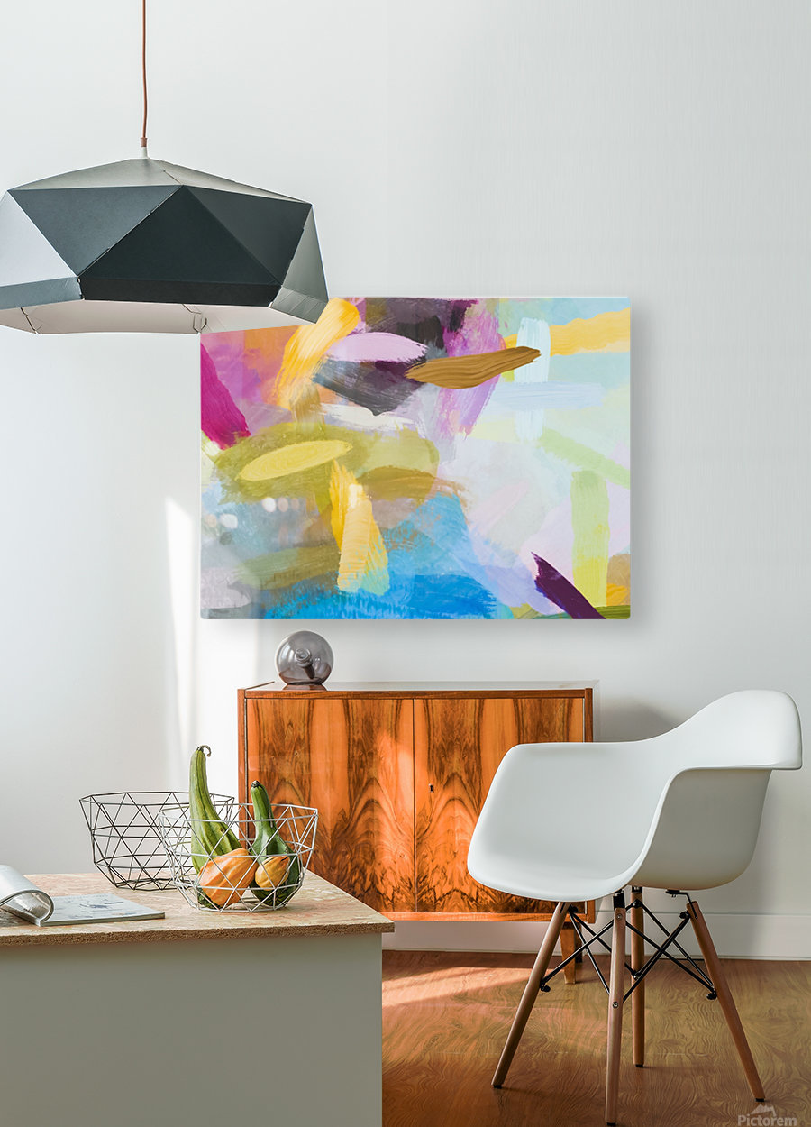 splash painting texture abstract background in yellow blue pink  HD Metal print with Floating Frame on Back