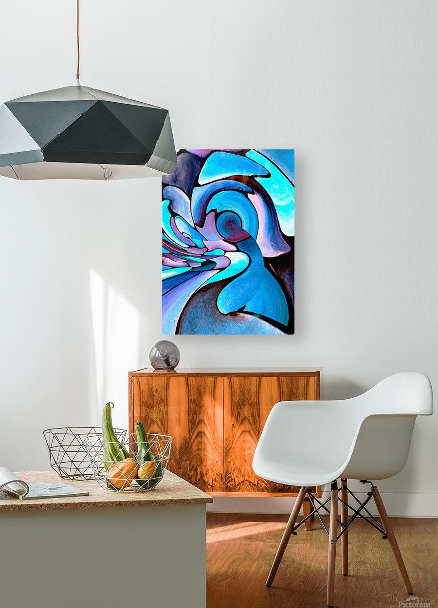 Twisted Splash of Blue Shapes   HD Metal print with Floating Frame on Back