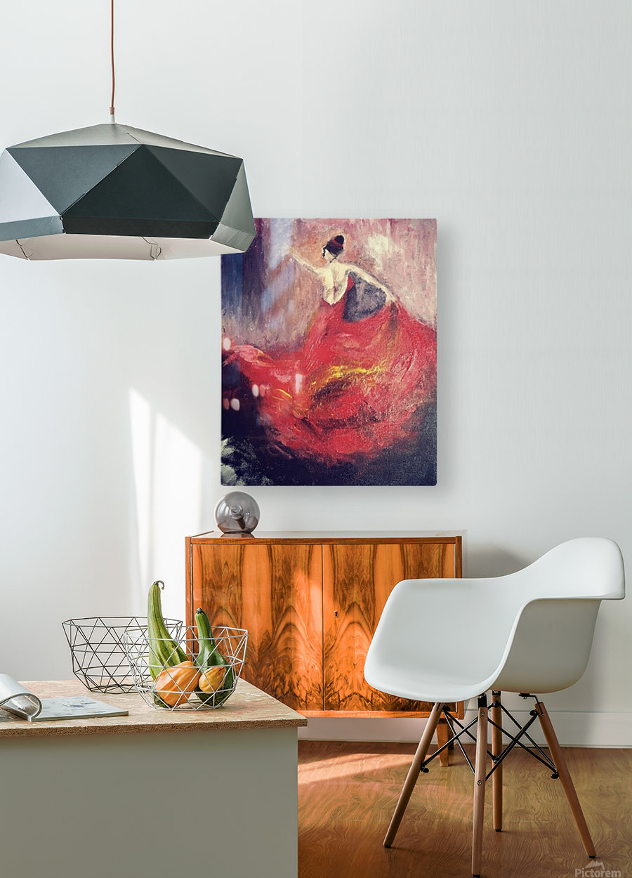 Dancer in Red   HD Metal print with Floating Frame on Back