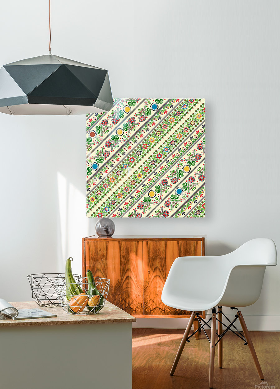 Hungarian seamless pattern   HD Metal print with Floating Frame on Back