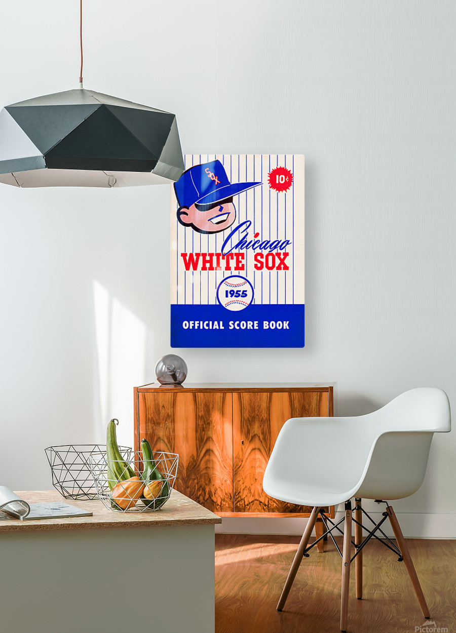 1955 chicago white sox mlb baseball score book poster  HD Metal print with Floating Frame on Back
