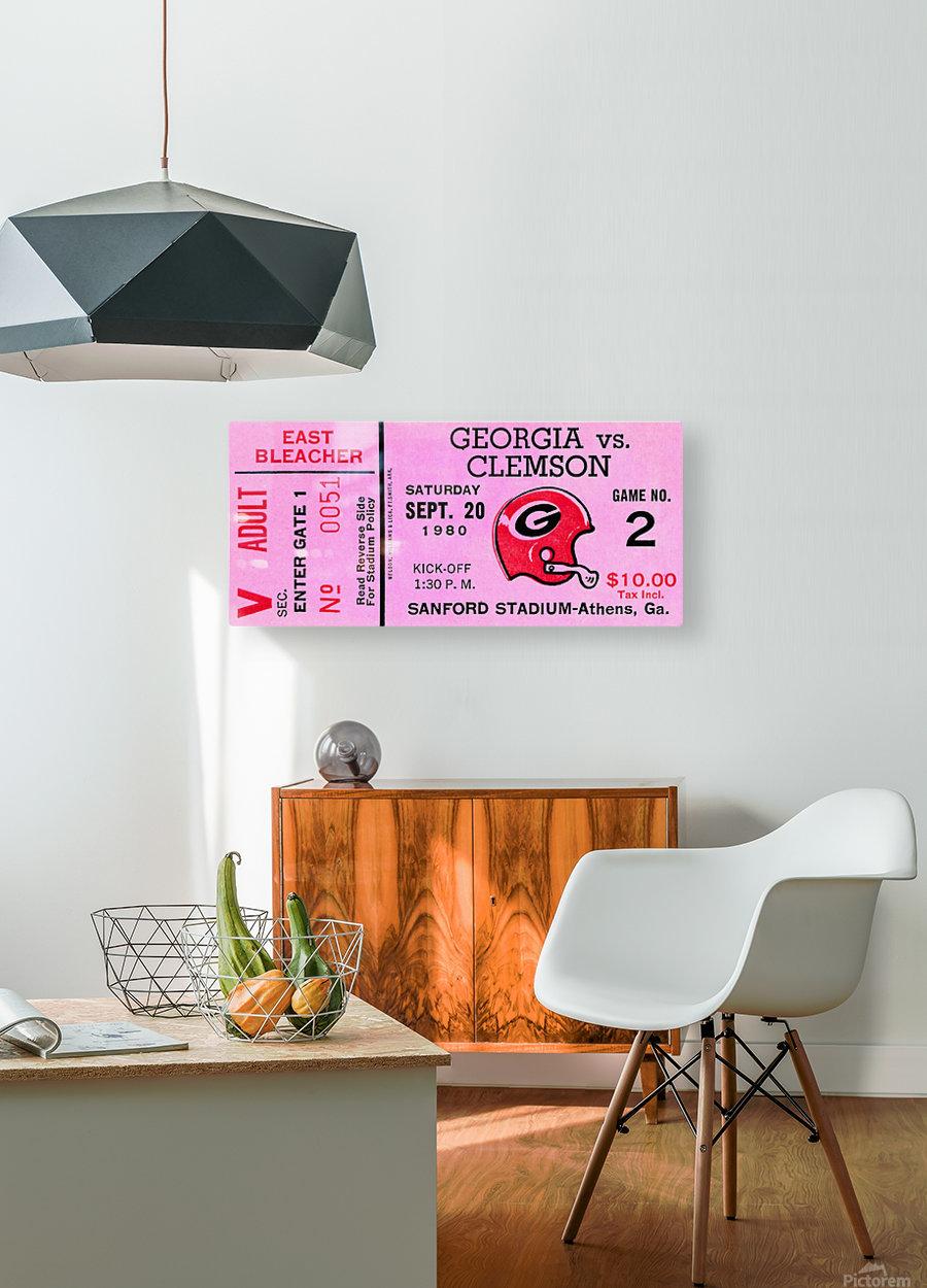 university of georgia college football ticket stub print on wood  HD Metal print with Floating Frame on Back