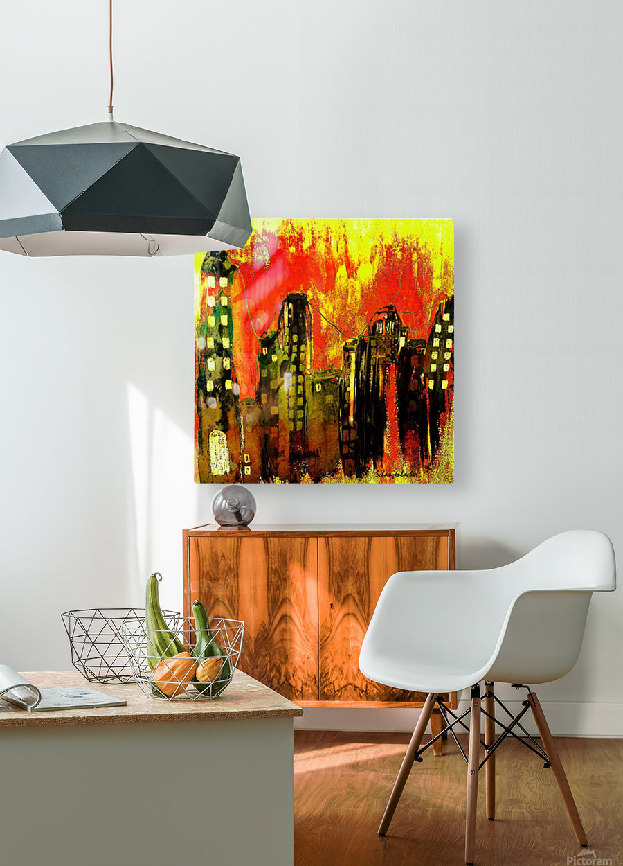 City on fire  HD Metal print with Floating Frame on Back