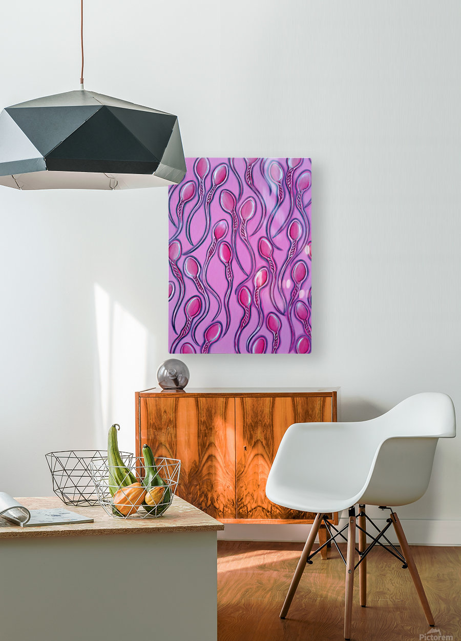 Sperms pink  HD Metal print with Floating Frame on Back