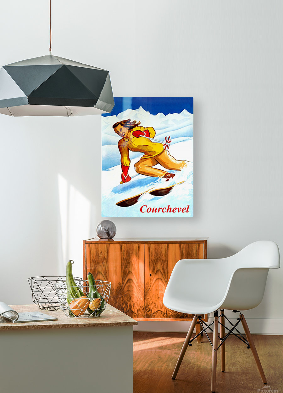 Skiing in Courchevel  HD Metal print with Floating Frame on Back