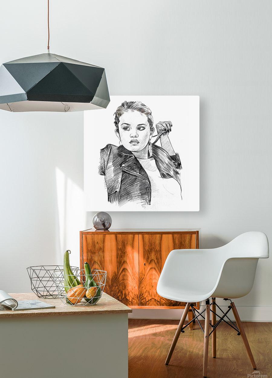 Selena Gomez - Celebrity Pencil Art  HD Metal print with Floating Frame on Back