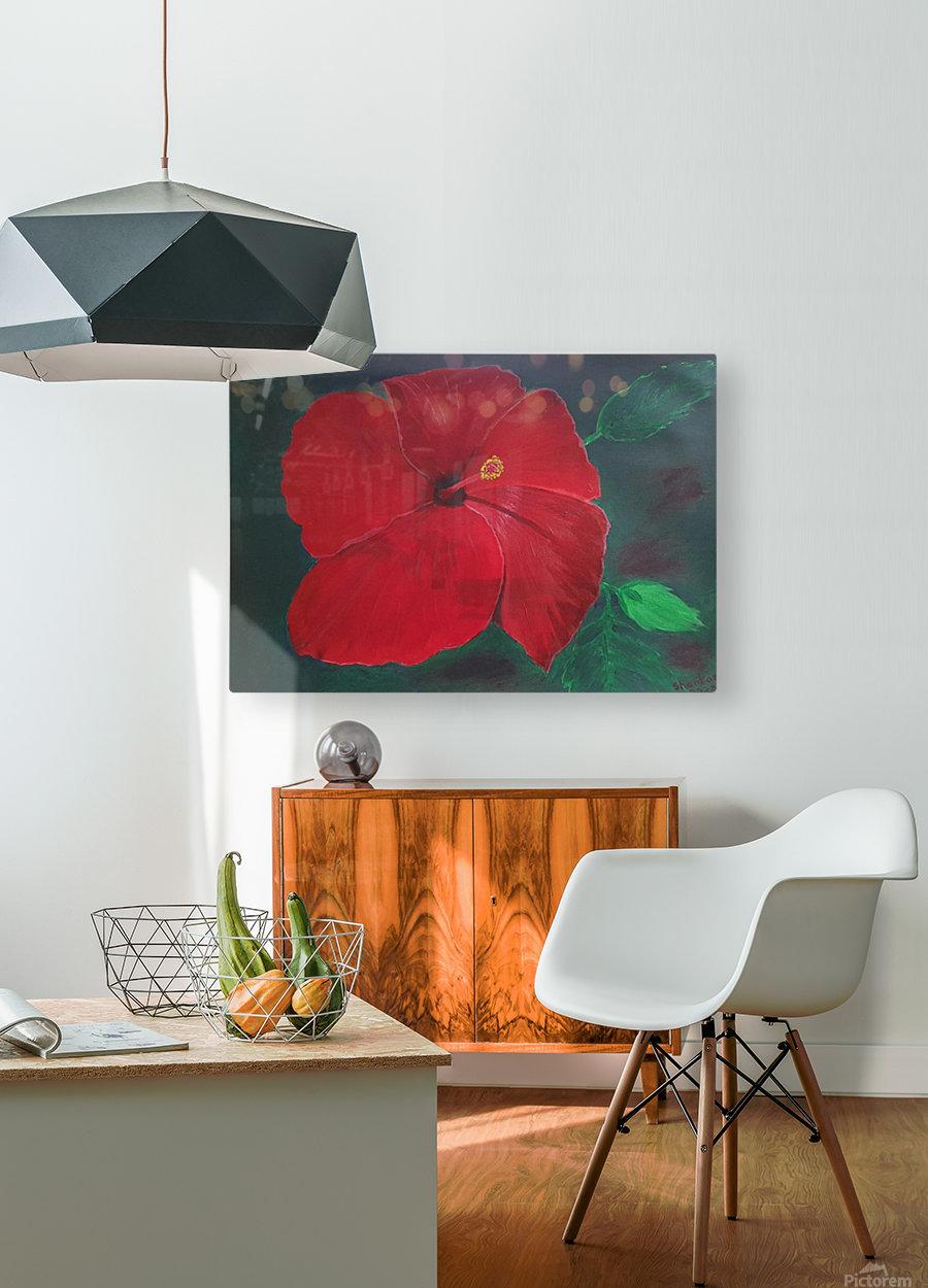 Hibiscus  Impression métal HD avec cadre flottant sur le dos