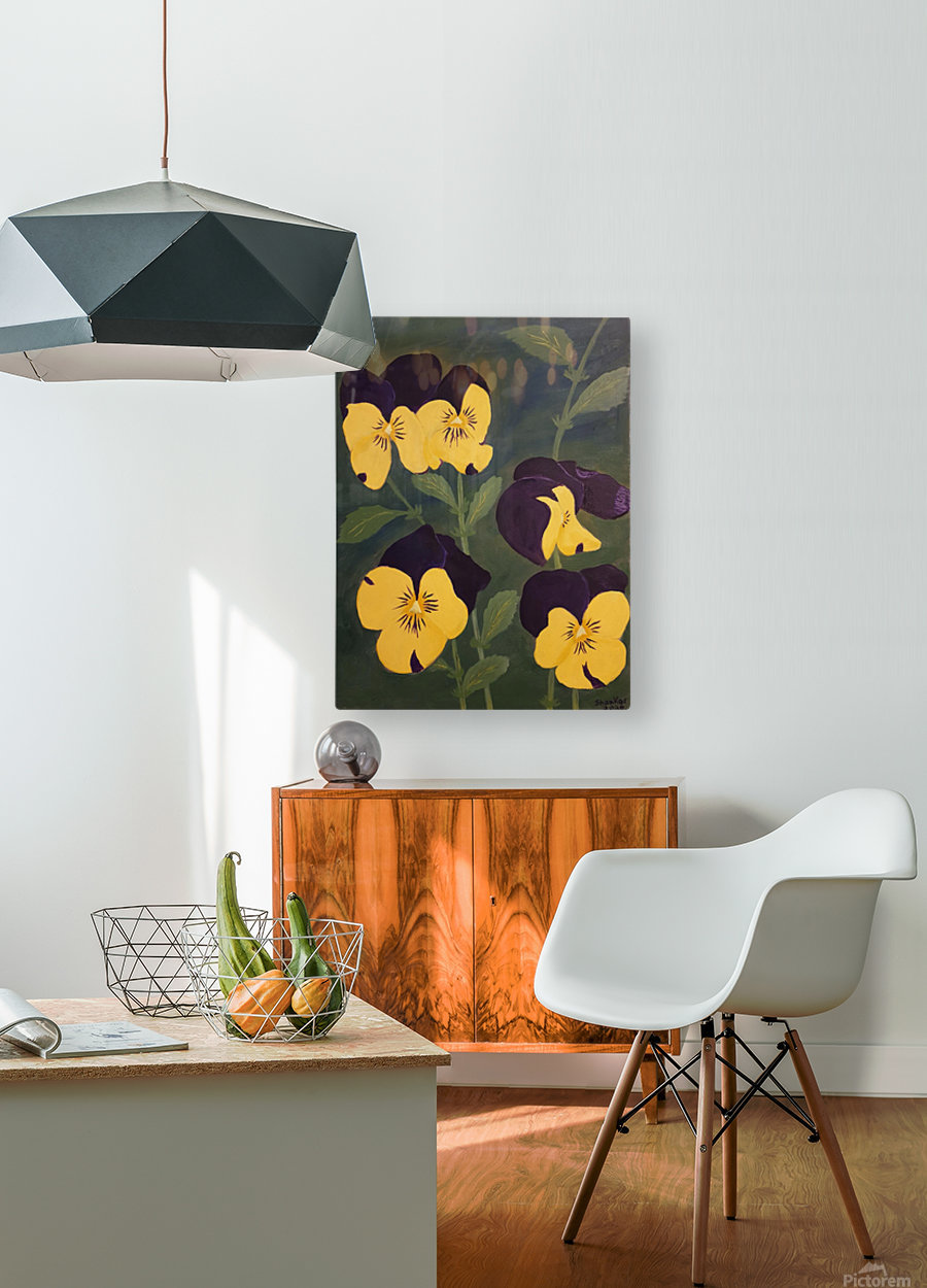 Yellow and purple pansies  HD Metal print with Floating Frame on Back