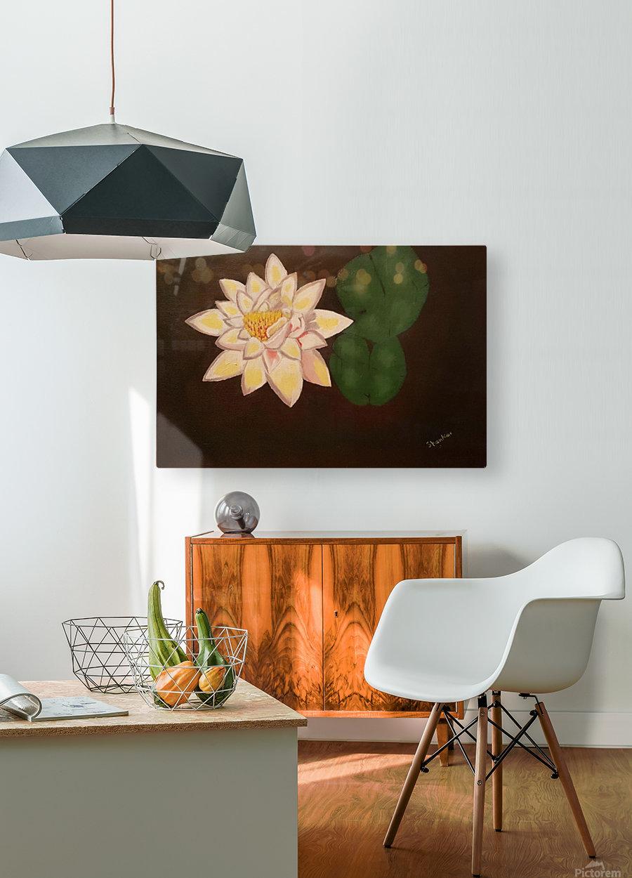 Lotus  HD Metal print with Floating Frame on Back
