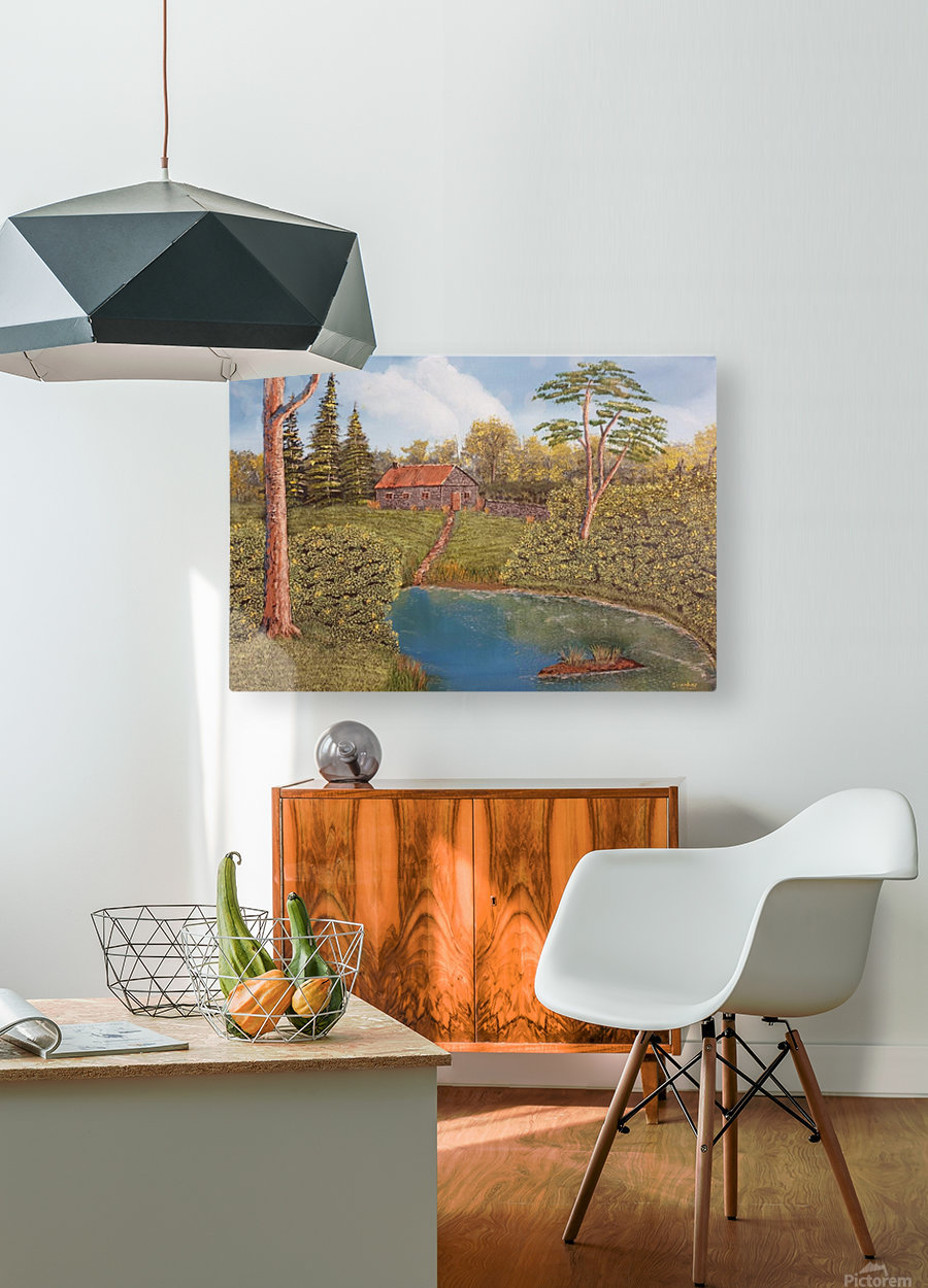 Hunting lodge  HD Metal print with Floating Frame on Back