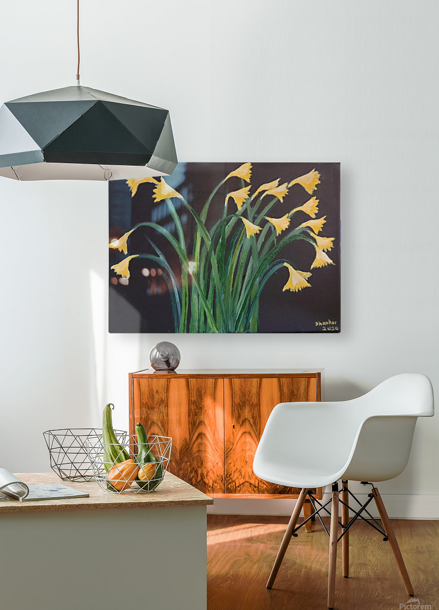 daffodils  HD Metal print with Floating Frame on Back