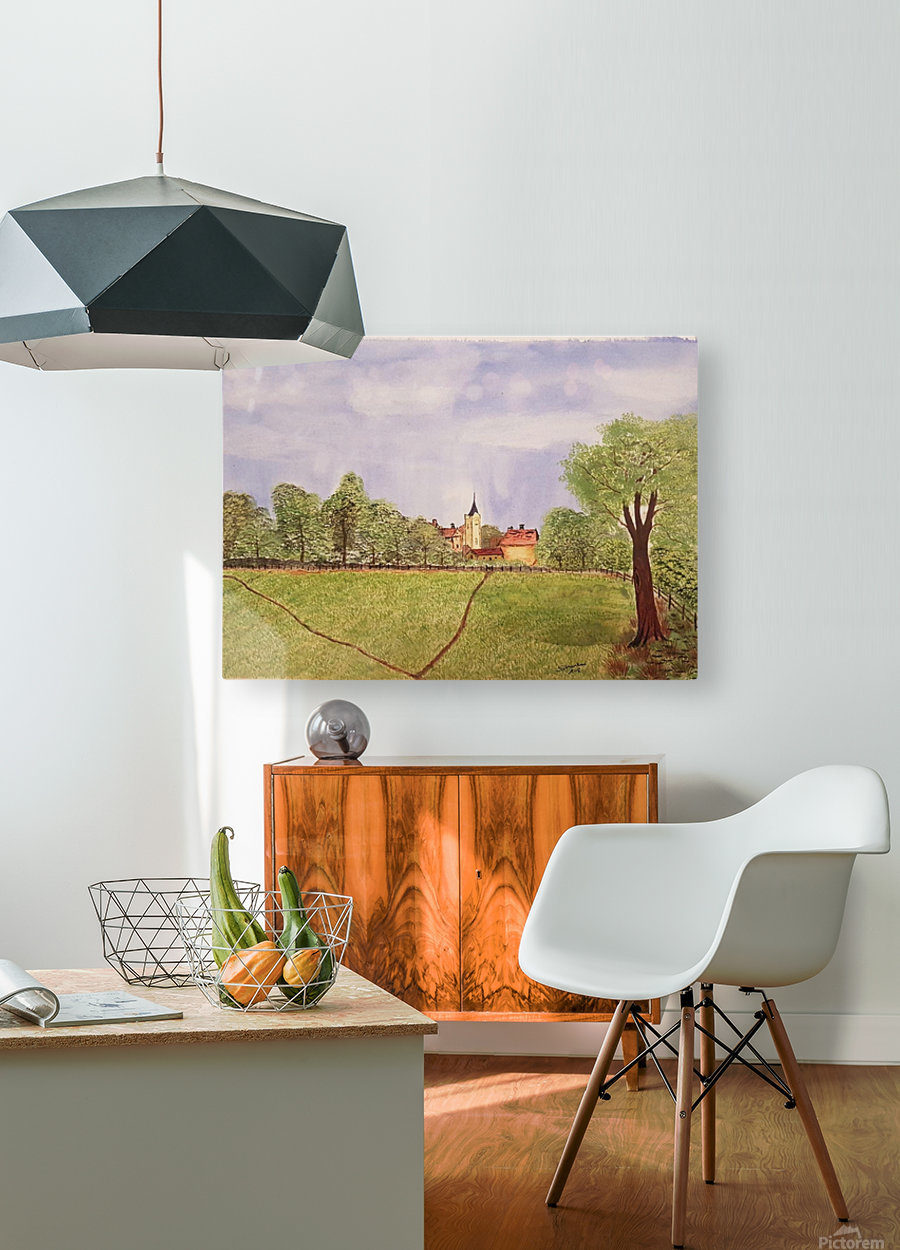 Village Green  HD Metal print with Floating Frame on Back