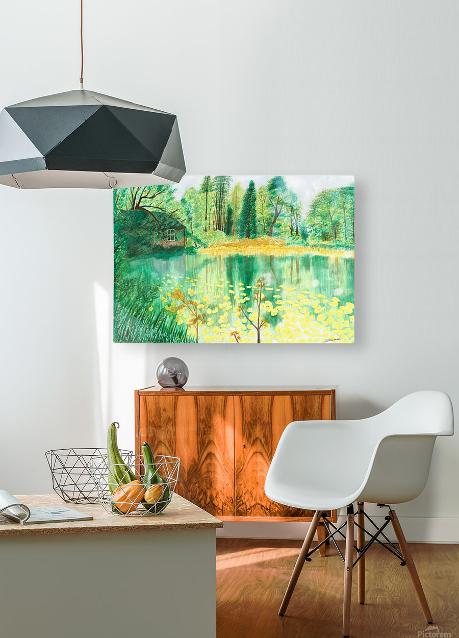 Wallington Hall pond  HD Metal print with Floating Frame on Back