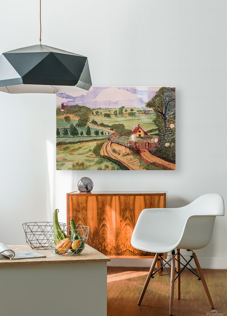 Village countryside  HD Metal print with Floating Frame on Back