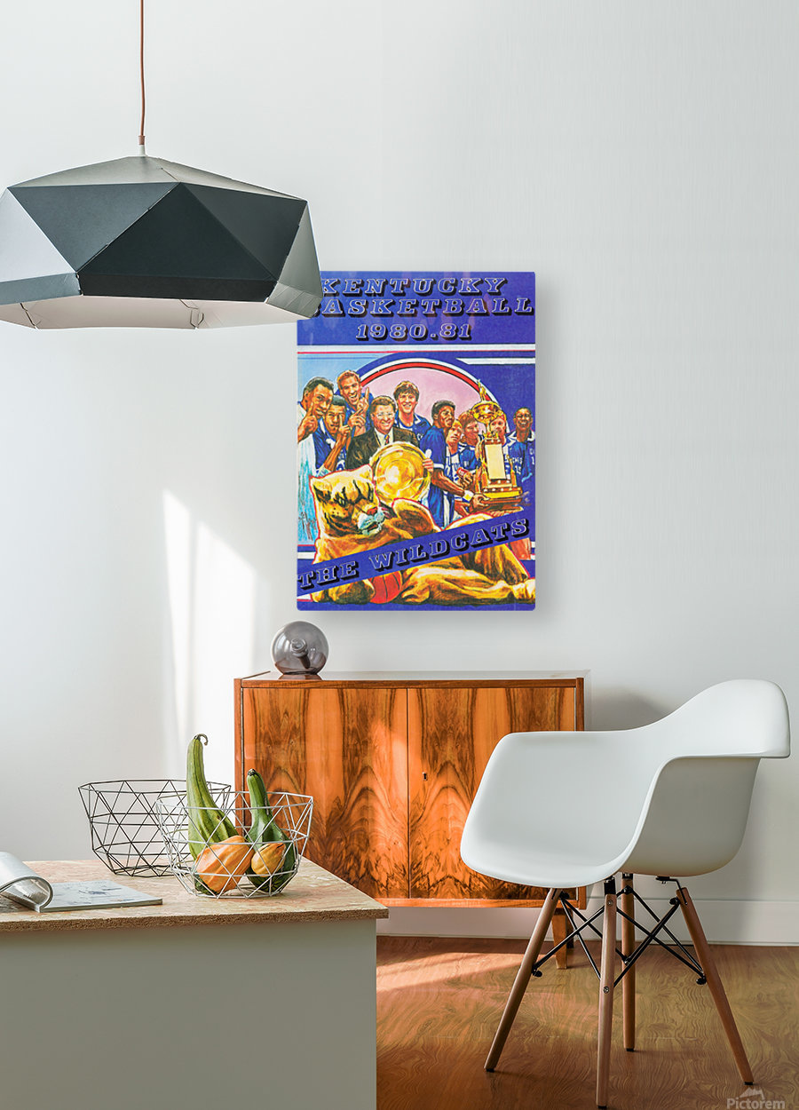 1980 kentucky wildcats basketball poster ted watts sports artist  HD Metal print with Floating Frame on Back