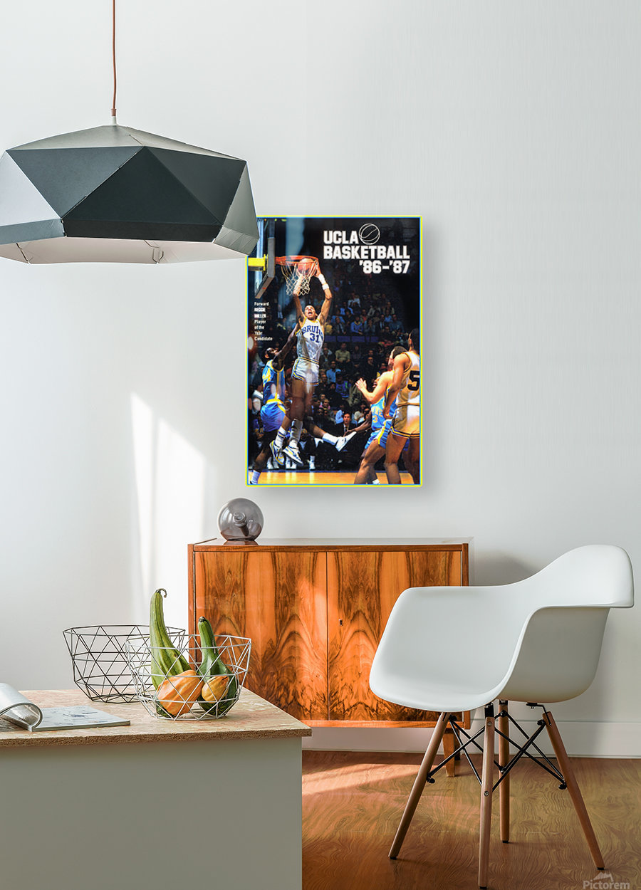 1986 ucla basketball reggie miller poster  HD Metal print with Floating Frame on Back