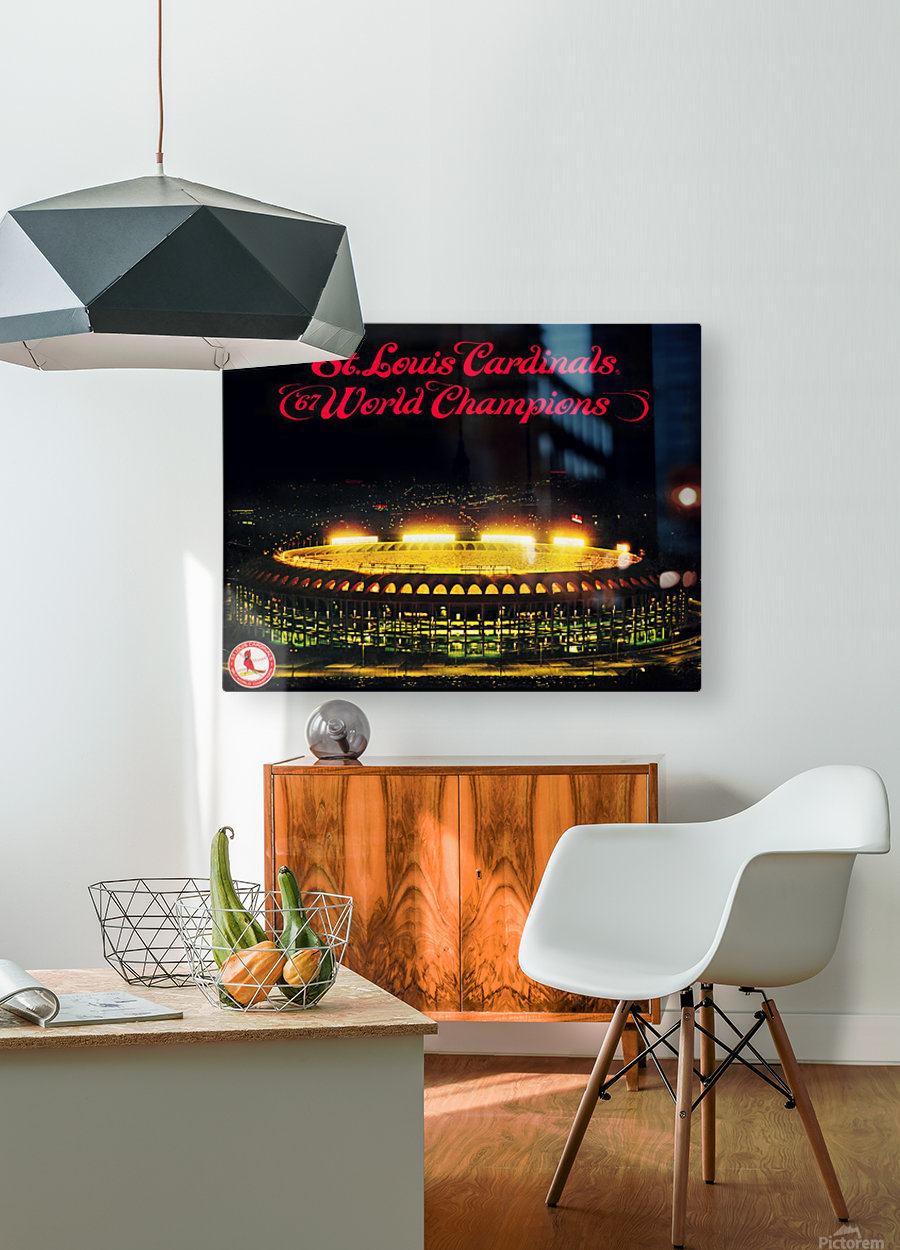 1967 Cardinals World Series Champions Poster Baseball Art Wood Prints  HD Metal print with Floating Frame on Back