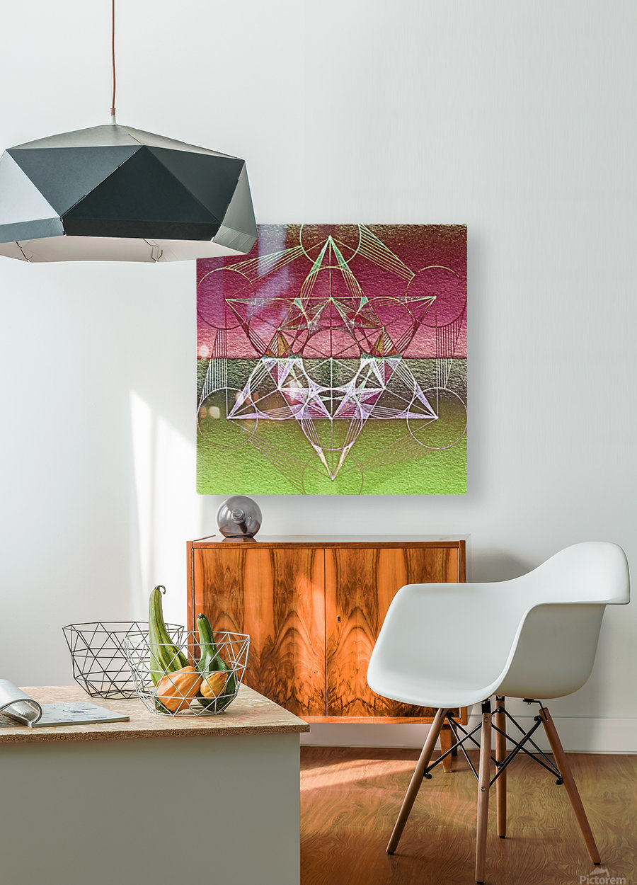 Cube of Metatron Red Green  HD Metal print with Floating Frame on Back