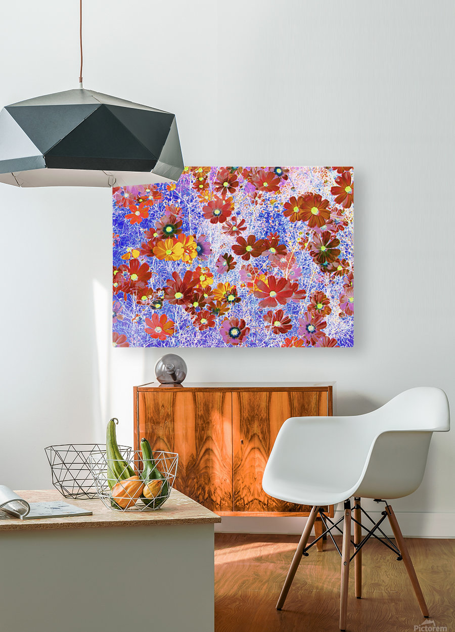 Cosmos Flowers Brown  HD Metal print with Floating Frame on Back