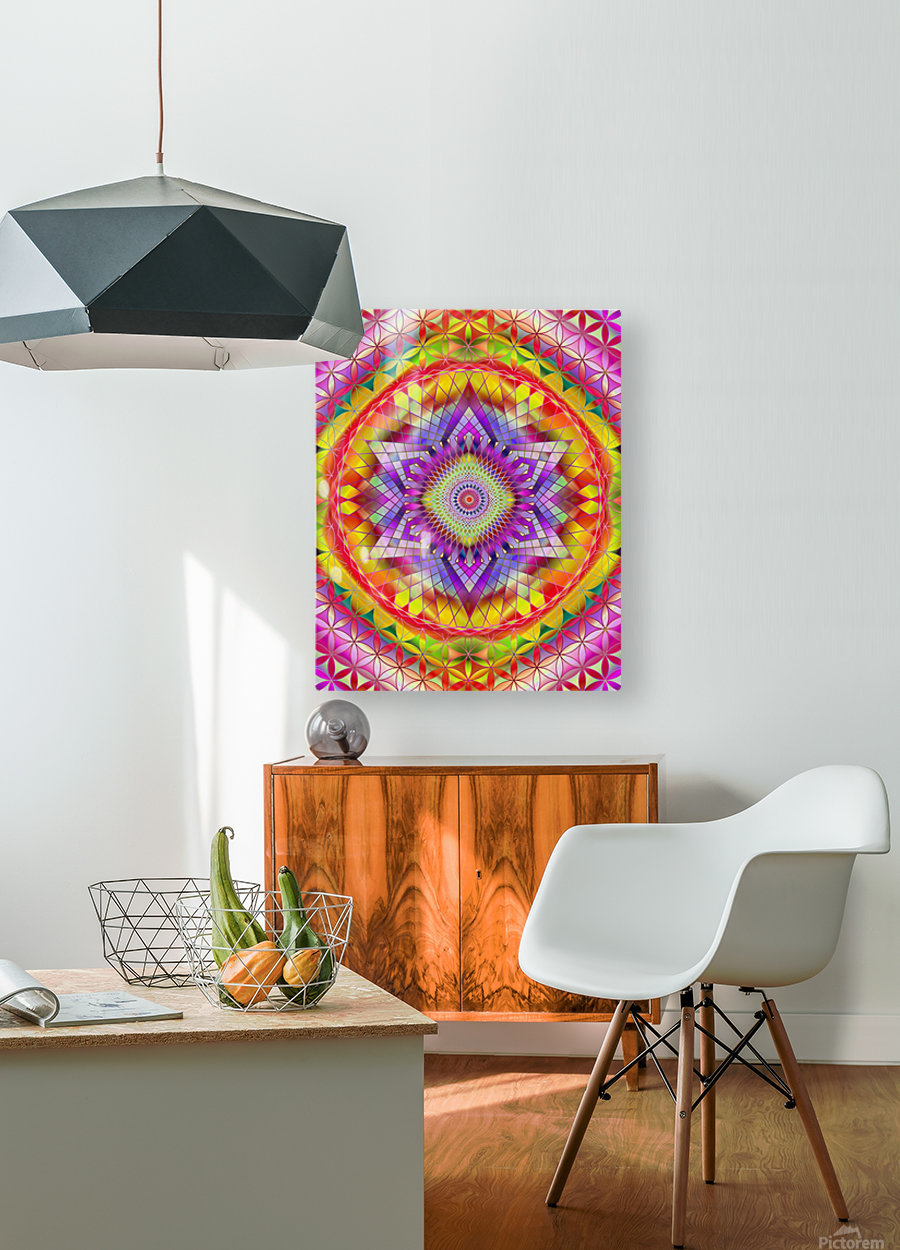 Vintage Mandala Orange Snowflake  HD Metal print with Floating Frame on Back