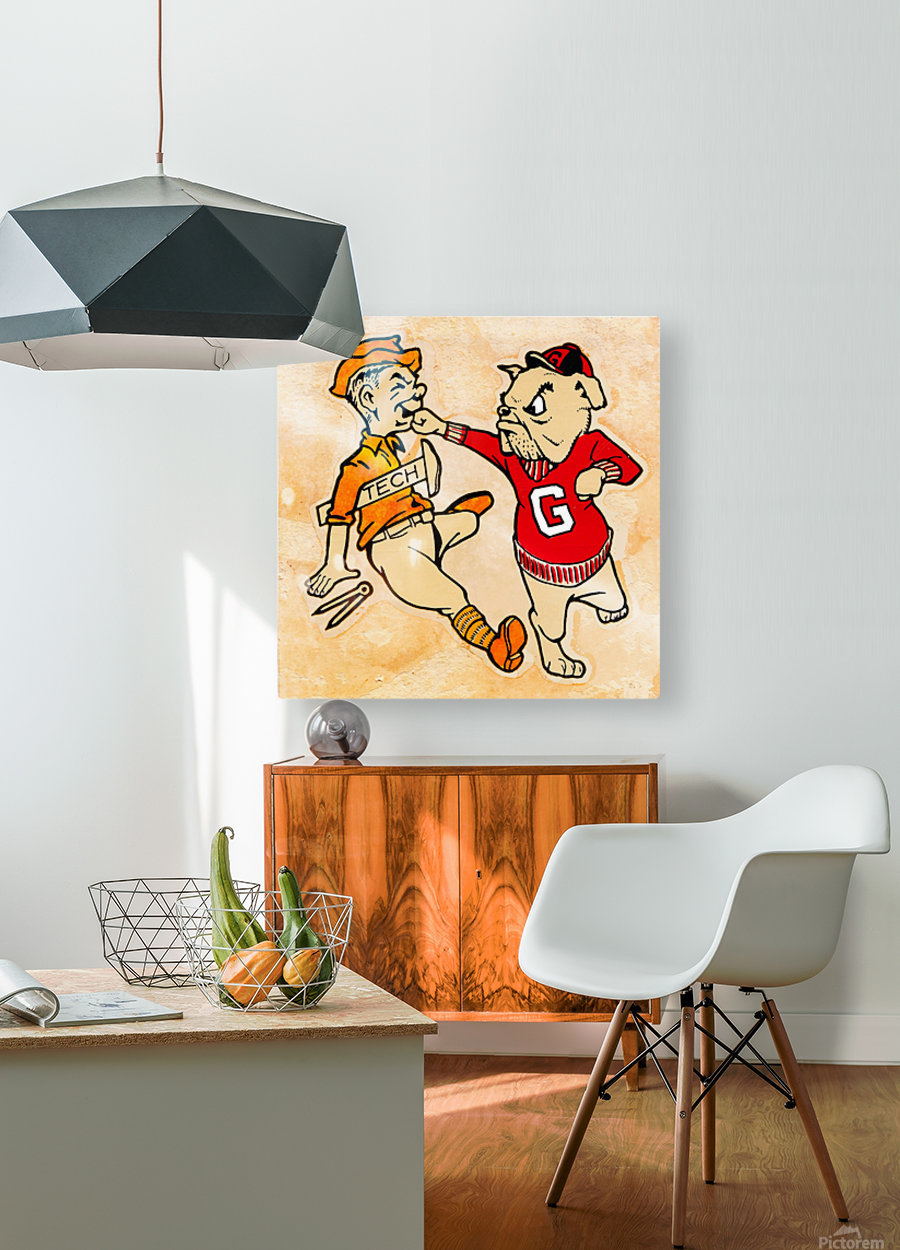 Vintage Georgia Bulldog Punching Tech Engineer College Canvas Print Wood  HD Metal print with Floating Frame on Back
