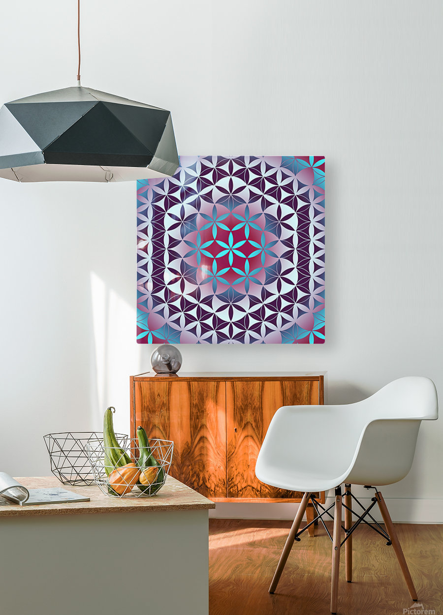 Flower of Life Hexagon Pattern  HD Metal print with Floating Frame on Back
