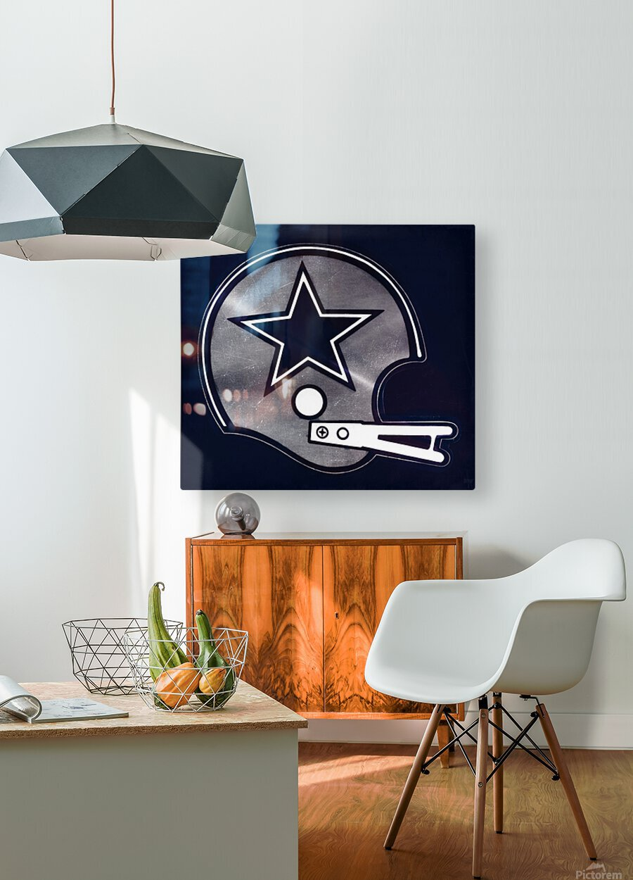 vintage dallas cowboys nfl helmet art  HD Metal print with Floating Frame on Back
