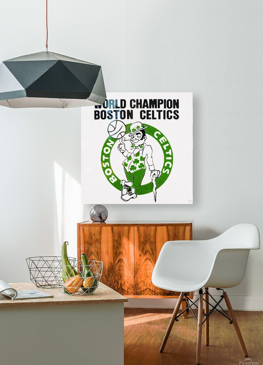 1981 Boston Celtics World Champions Art Reproduction  HD Metal print with Floating Frame on Back