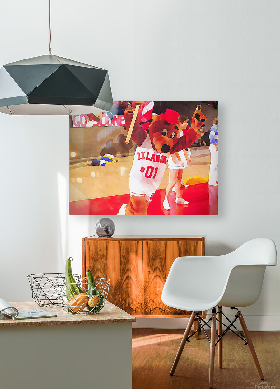 college mascot art top daug oklahoma sooners basketball art  HD Metal print with Floating Frame on Back