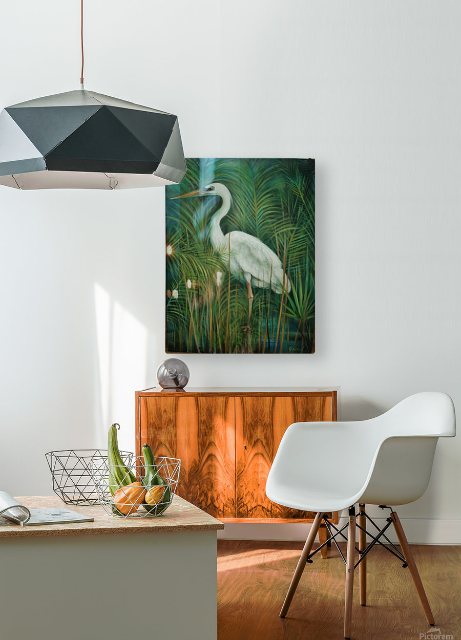 white heron 2  HD Metal print with Floating Frame on Back
